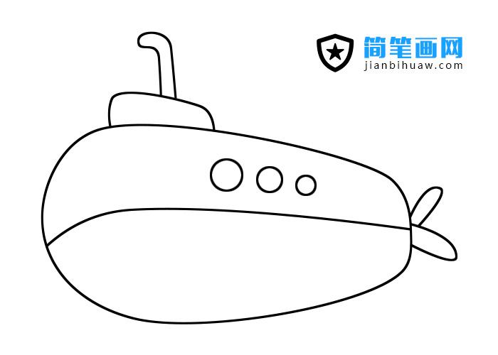 潜水艇简笔画步骤和上色