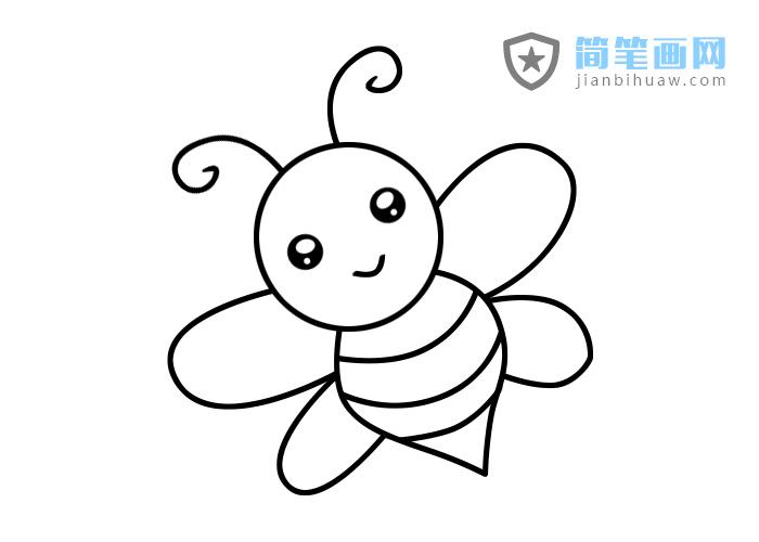小蜜蜂简笔画的步骤和上色图