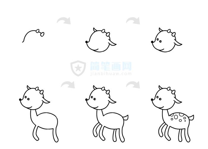 小鹿简笔画图片包含步骤图