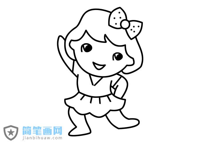在跳舞的小女孩简笔画步骤画法图片