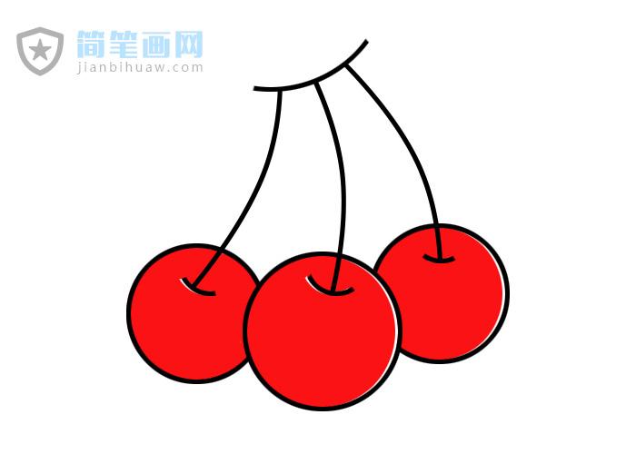 大红樱桃简笔画图片包含步骤上色教程