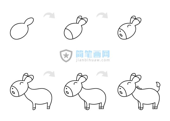 一只小毛驴简笔画步骤画法及上色教程
