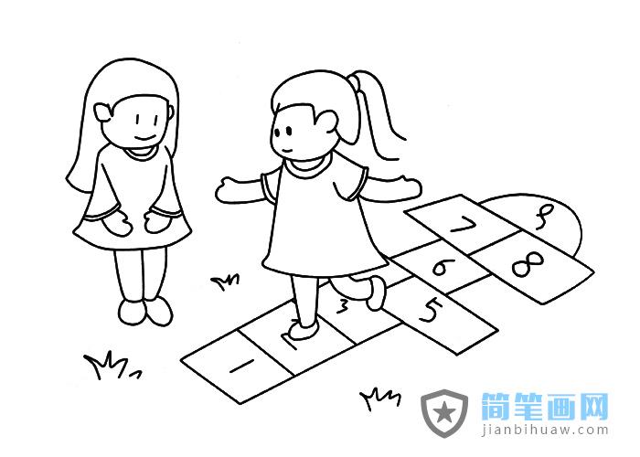 两个小朋友玩跳格子游戏的简笔画图片