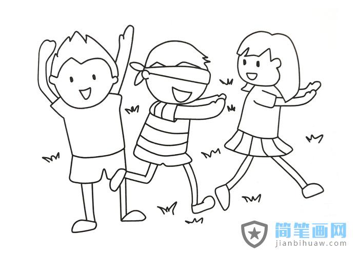 三个小朋友在玩捉迷藏游戏的简笔画图片