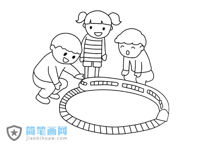 小朋友玩小火车玩具的简笔画图片