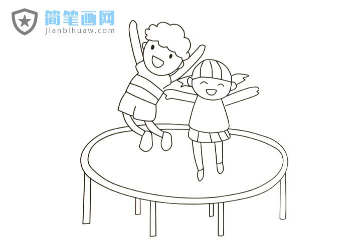 两位小朋友在蹦床上快乐的蹦跳简笔画