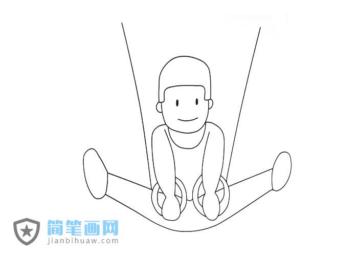 男子在练习吊环运动的简笔画图片